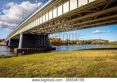 Autumn In Lithuania. Panemune Bridge Across The Longest River Of Lithuania, Nemunas In Kaunas