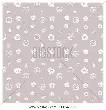 Minimalistic Floral Pattern. Seamless Decorative Vector Pattern.