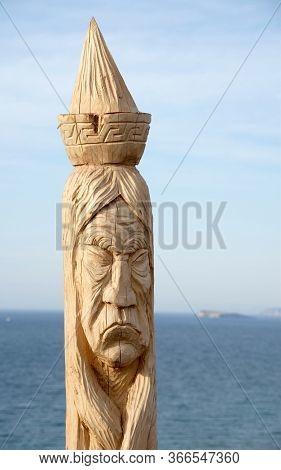 Wooden shaman totems at Burhan Cape, Baikal Lake, Russian Federation