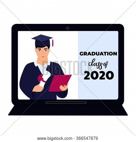 Graduation Class Of 2020. Virtual Online Ceremony On A Laptop Monitor During Coronavirus Quarantine.