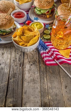 Traditional American Picnic With Burgers
