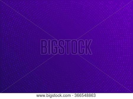 Violet Blurred Vector Background With Halftone Effect. Smooth Blue And Purple Gradient. Violet Backg