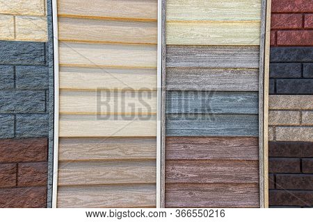 Siding Made In The Texture Of Wood Samples Close-up