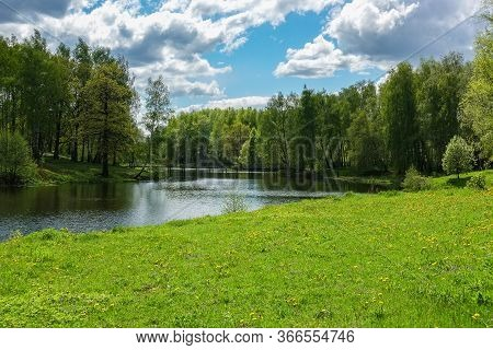 Beautiful Countryside Landscape. Green Meadow And River. Spring Summer. Russia.