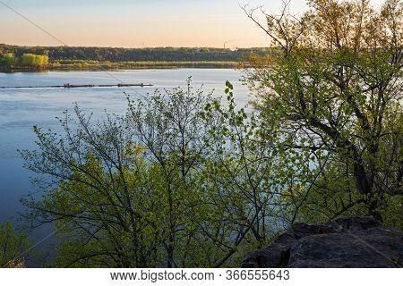 Mississippi River Valley Landscape During Daybreak At Spring Lake Park