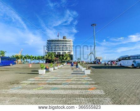 Puerto Limon, Costa Rica - December 9, 2019: The People Going Near Holland America Cruise Ship Eurod