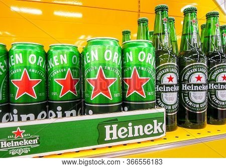 Samara, Russia - March 18, 2020: Heineken Alcoholic Beer Ready For Sale On The Shelf In Superstore.