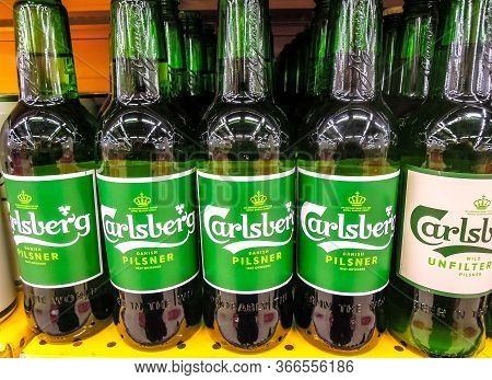 Samara, Russia - March 18, 2020: Carlsberg Alcoholic Beer Ready For Sale On The Shelf In Superstore.