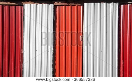 Rustic Grunge Red And White Metallic Wall And Door Dirty Back Street Ghetto Object Background