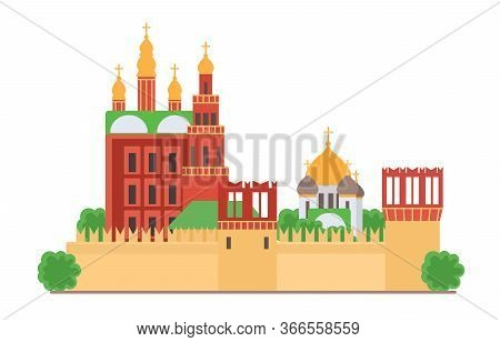 Sight Of Moscow Vector Illustration. Moscow Kremlin, Architecture Historical Famous Beautiful Buildi