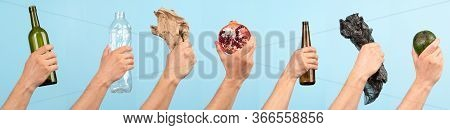 Concept Of Garbage Sorting And Ecology. Photo For Website Banner. Hands Holding Different Trash , Pl