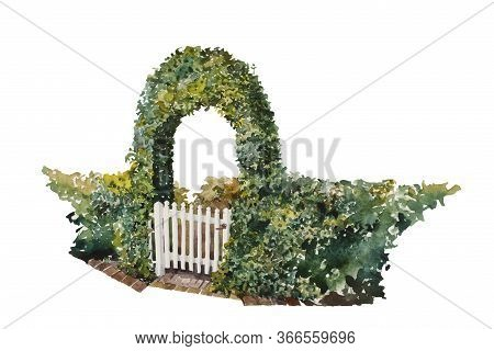 Watercolor Romantic Ivy Gate Over The House Entrance As White Wooden Rural Wicket, With Part Of Gree