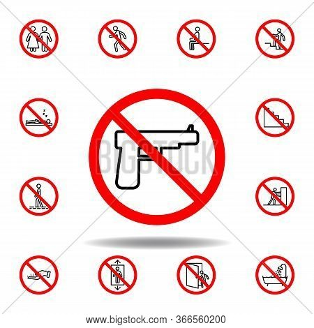 Forbidden Gun Icon. Set Can Be Used For Web, Logo, Mobile App, Ui, Ux
