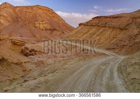 Walking Way On Negev Desert (israel) Near  Sunset Time