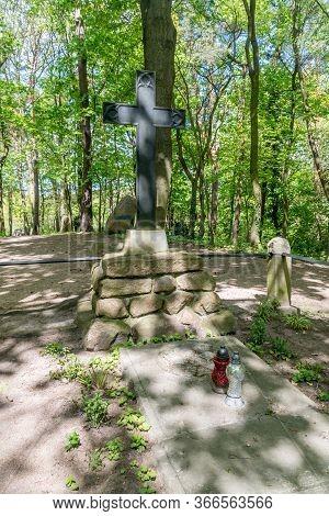 Straszyn, Poland - May 15, 2020: Tombstones Of The Von Tiedemann.