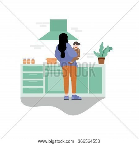 Character Design. A Woman Is Holding Baby And Cooking Tasty Diner.