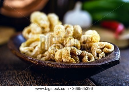 Pork Cracklings, Crispy And Fried. Typical Brazilian Food, Known As Crackling Pururuca.