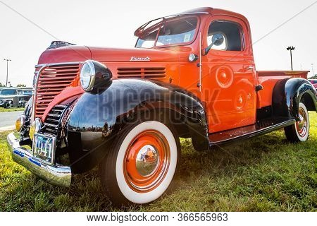 Daytona Beach, Fl / Usa- November 24, 2018: Restored Orange And Black 1941 Plymouth Pt-125 Pickup Tr