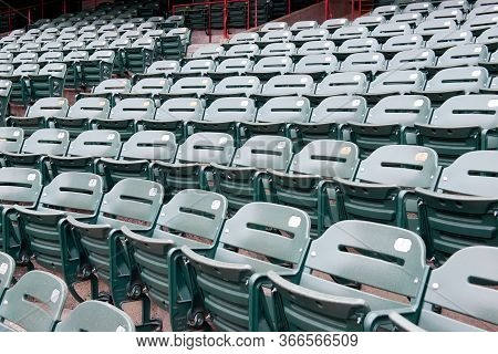 Empty Sports Stadium Seats Due To The Covid 19 Virus.