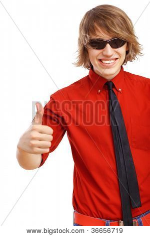 Happy handsome man showing thumbs up and white blank banner