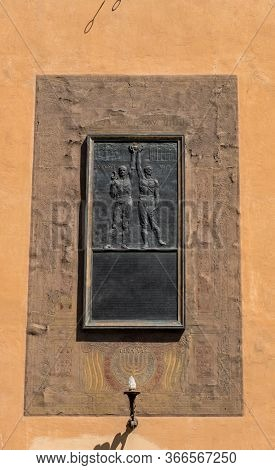 Florence, Italy - August 16, 2019: Ex Morte Vita The Bronze Bas-relief For Memory To Killed In The F