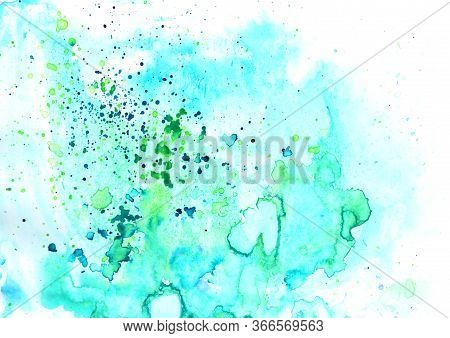 Bright Colorful Vibrant Hand Painted Isolated Watercolor Background With Paint Splashes On White Bac