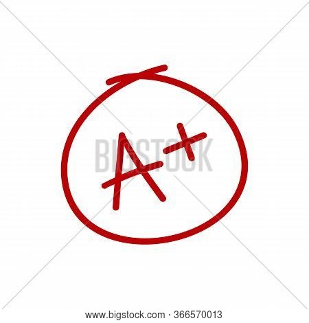 A Plus Grade Mark. Best Result Sign. Excellent Done