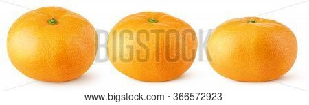 Set Of Tangerine Or Orange Citrus Fruit Isolated On White Background. Full Tangerine With Clipping P