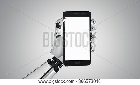 White Robot Hand Holding Modern Smartphone Mockup On Grey White Background. Robotic Android Hands Wi