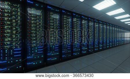 Modern Interior Server Room Data Center. Connection And Cyber Network In Dark Servers. Backup, Minin