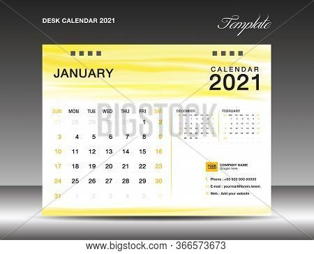 Calendar 2021 Template Design. Desk Calender 2021. January Template. Week Starts On Sunday. Planner.