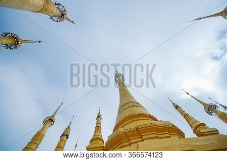 Converging Spires From Low Point Of View Shwe Indein Pagoda In The Indein Village At Inle Lake,shan
