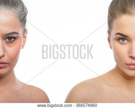 Half face of young beautiful girl and a half one of old woman (the same person). Beauty treatment, aging and youth, lifting, antiaging, skincare, hydration, plastic surgery, rejuvenation, skincare