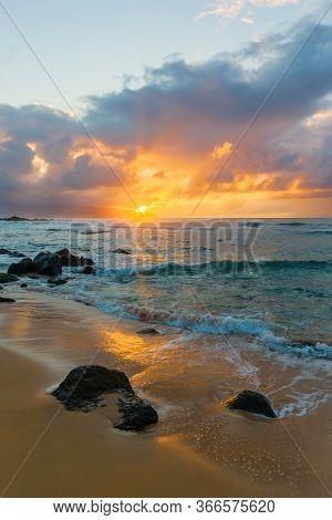 North Shore In Oahu, Hawaii, At Dusk