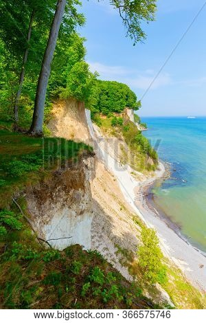 Chalk Cliffs Of Jasmund National Park, Ruegen, Germany, From Above The Cliffs