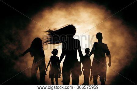 Silhouette Zombie Horde In The Dark,3d Rendering