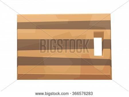 Wood Cutting Board Isolated On White Background Vector