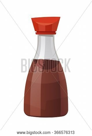 Bottle Of Soy Sauce Isolated On White Background Vector