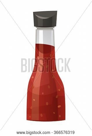 Glass Bottle With Chili Sauce Isolated On White Vector