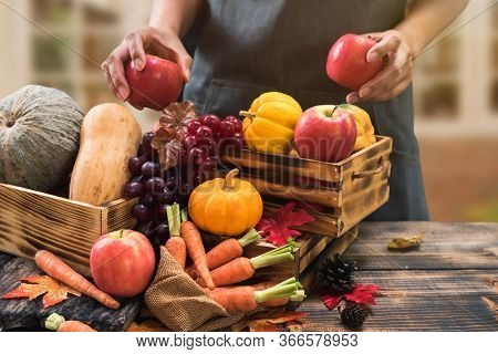 Fall Harvest Cornucopia. Autumn Season With Fruit And Vegetable. Thanksgiving Day Concept.
