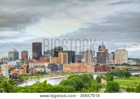 Downtown St. Paul, MN and Mississippi river poster
