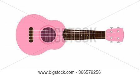 Ukulele Cute Pink Pastel Isolated On White, Ukulele Classic Retro Style In Holiday Summer Concept, S