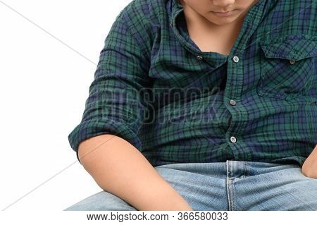 Child With Overweight. Obese Fat Boy Overweight Isolated On White Background, Unsuccessful Dieting A