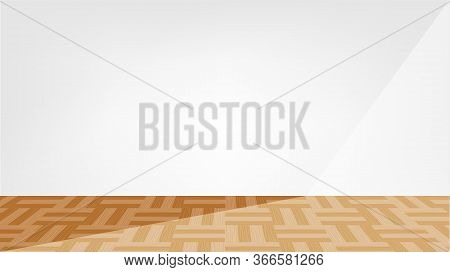 Empty Room Parquet Wood Floor And Light Shine, Modern Room Interior Decoration With Parquet Wooden F