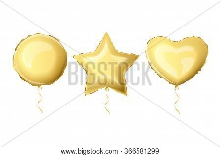 Realistic Foil Balloons Golden Color. Set Helium Foil Balloons Of Different Shapes. Metallic Air Bal