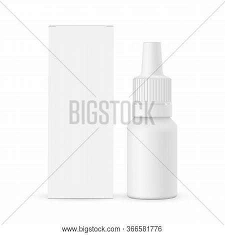 Nasal Dropper Bottle Mockup, E-liquid Flavor With Paper Box Front View, Isolated On White Background