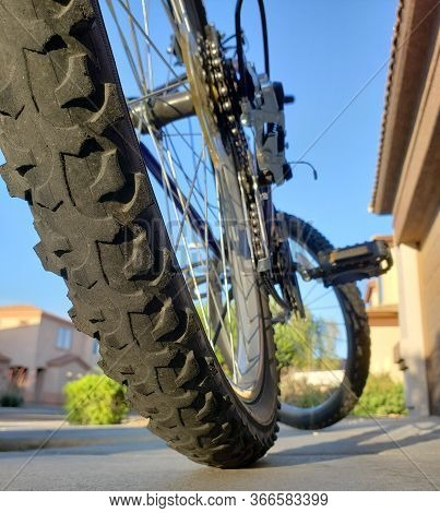 Worn Out Rear Wheel Tire Of Mountain Bicycle, Close Up