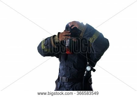 Firefighter In Uniform In Protective Breathing Mask On His Head With Inscription No Problem On White