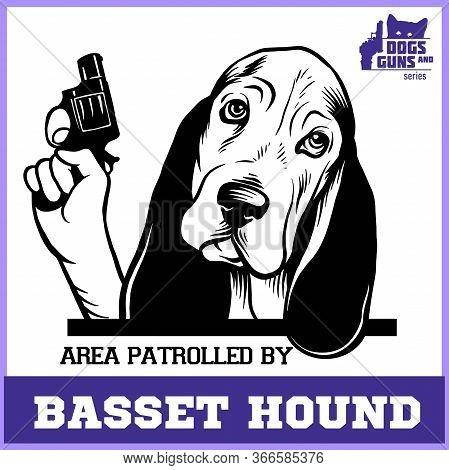 Basset Hound Dog With Revolver Gun - Basset Hound Gangster. Head Of Funny Basset Hound