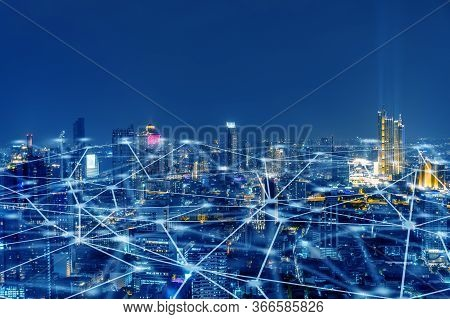 Wireless Network, Connection Technology Concept, Information Communication Network, Abstract Line Co